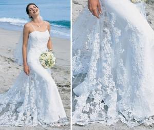 Тончайшее кружево шиффли прекрасно смотрится на свадебных платьях