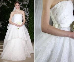 Глазковое кружево прекрасно украшает свадбеные наряды