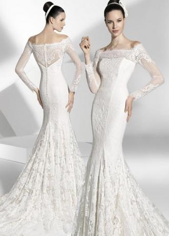 Свадебное платье Русалка может иметь обычную пышную юбочку - хвост , равную по длине со всех сторон, а может заканчиваться изящным шлейфом