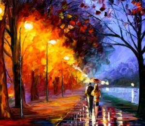 картина пара под дождём