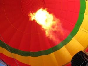 наполнение шара горячим воздухом