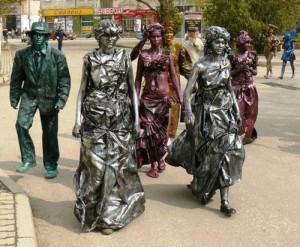живые статуи на свадебном торжественном ужине