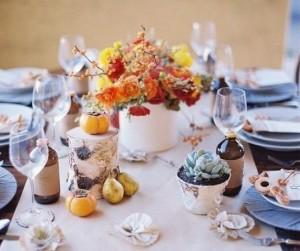 оформление свадебного стола осенью