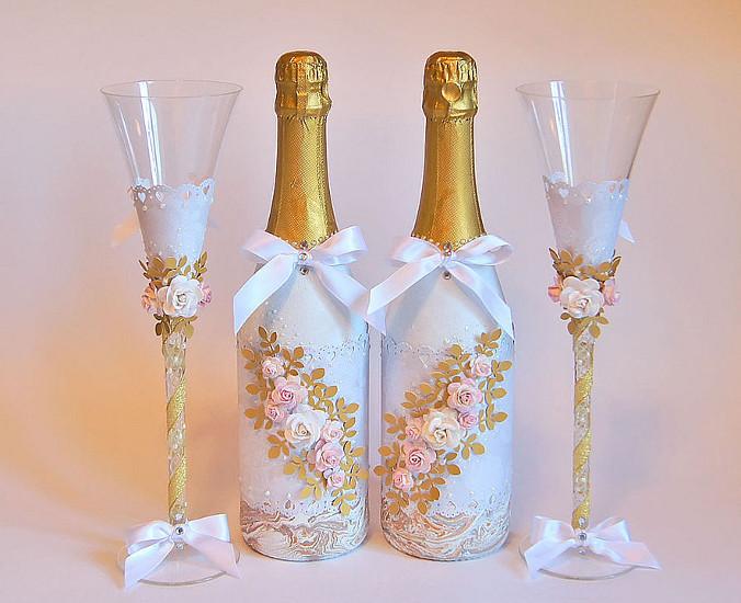 Как украсить шампанское на свадьбу своими руками лентами
