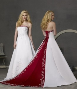 бело-красное свадебное платье