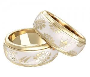обручальные кольца с эмалью