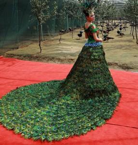 платье из перьев павлина