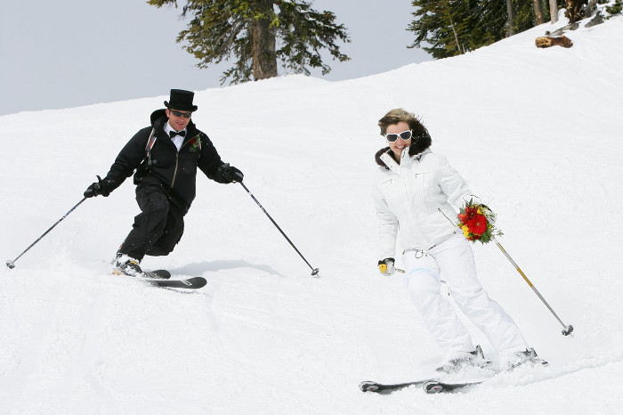Свадьба на лыжах фото