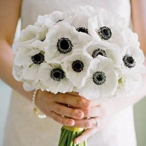 черно-белый свадебный букет