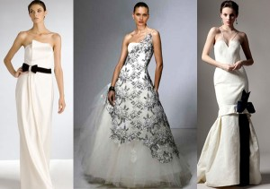 свадебные платья белые с черным