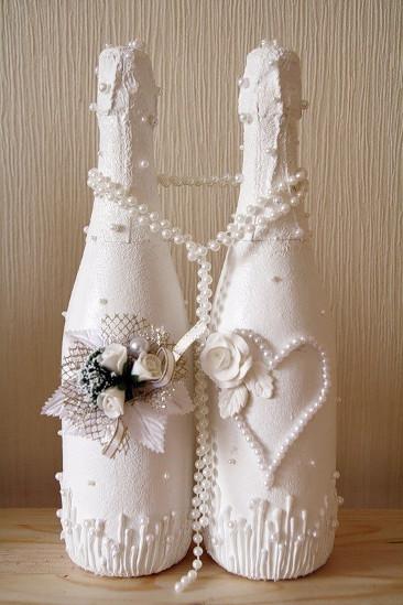 Как украсить бутылку на свадьбу пошагово