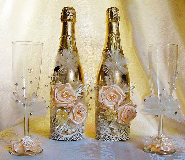 Как своими руками украсить бутылки для свадьбы