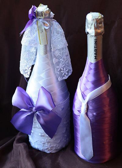 Оформление бутылки на свадьбу своими руками с фото