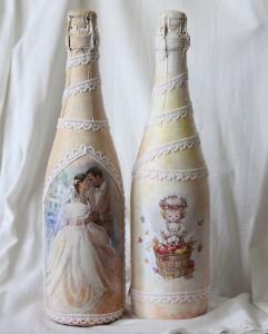 оформление бутылок на свадьбу