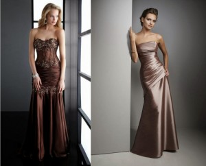 коричневые свадебные платья