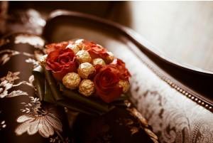 свадебный букет с конфетами
