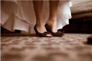 коричневые свадебные туфли
