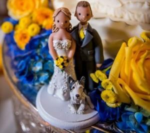 сине-жёлтый свадебный стол