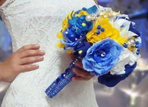 сине-жёлтый свадебный букет
