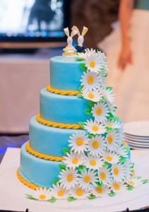 сине-жёлтый свадебный торт
