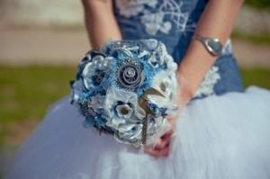 джинсовый свадебный букет