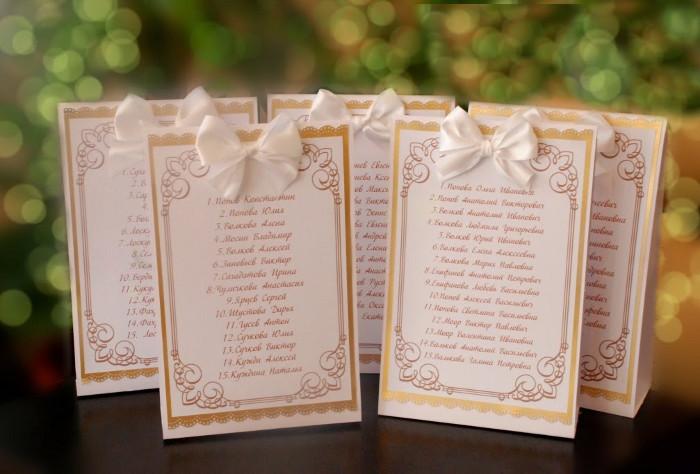 Списки гостей на свадьбу оформление